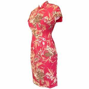 Vintage Cheongsam Coral Botanical Print Dress NWT